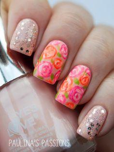 beautiful flower nail art design 2015