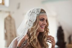 A Hooded Cape Veil and Cymbeline Dress for a Vintage Inspired Winter Wedding