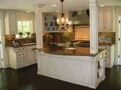 Tuscan/ French Kitchen Remodel With Antique Glazed Cabinets/Viking Range mediterranean kitchen