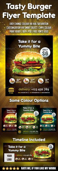 Burger  Food Flyer Burgers, Menu and Food - menu flyer template
