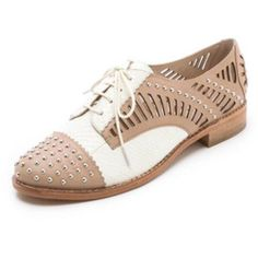 New Sam Edelman Womens Jayden Oxford Leather Cut Out Studded Lace Shoes Size 9.5