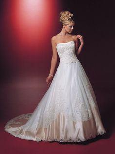 Satin Softly Curved Neckline Re-Embroidered Lace Bodice Ball Gown Wedding Dress