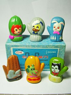 FOR SALE ! 6 animals on gloves and mittens VINTAGE Chinese CHALKWARE clay CERAMIC figural PENCIL SHARPENERS ! http://www.ebay.com/sch/mypinkturtle/m.html?_ipg=50&_sop=12&_rdc=1
