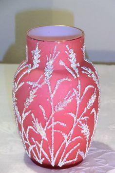 HARRACH PINK OPALINE GLASS VASE WITH CORALENE DECOR OF SPIKES. Circa 1887 www.madforglass.com Opaline, Diy Home Crafts, Glass Collection, American Made, Beautiful Things, Flower Arrangements, Glass Art, Swarovski, Victorian