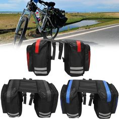 Grtxinshu Double Pannier Rear Seat Bag Pouch Saddle Bag For Outdoor Bike Bicycle Cycling Traveling Bicycle Accessory, Size: Black Sierra Leone, Mauritius, Maldives, Montenegro, Belize, Uganda, Sri Lanka, Costa Rica, Seychelles