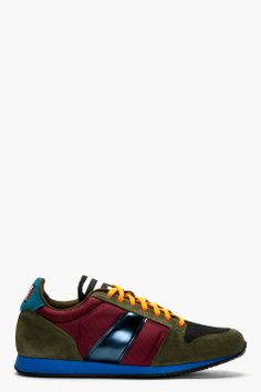 AMI Purple Suede & Multi Textile Low Top Sneakers