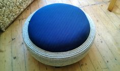 New Up-Cycled Tyre Ottoman Designs by Woollysaurus: Navy Blue