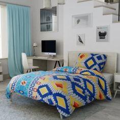 Krepové povlečení modré žluté oranžové afrika ornament vzorované čtverec kostka originální Comforters, Blanket, Bed, Home, Africa, Creature Comforts, Quilts, Stream Bed, Ad Home