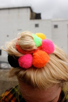 this is my main pom pom inspiration. reckon we should recreate the hairstyle for the shoot Pom Pom Crafts, Yarn Crafts, Diy For Kids, Crafts For Kids, Diy Hair Accessories, Love Craft, Diy Hairstyles, Healthy Hair, Fascinator