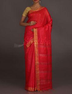 Rashmi Molten Red Self-Checks Wonder #MatkaSilkSaree
