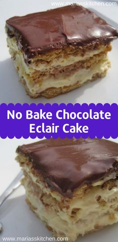 No Bake Chocolate Eclair Cake - Great dessert. easy tasty and a real crowd pleaser! No Bake Chocolate Eclair Cake - Great dessert. easy tasty and a real crowd pleaser! Mini Desserts, Tolle Desserts, Great Desserts, Easy No Bake Desserts, Chocolate Eclair Dessert, Easy Chocolate Desserts, Baking Chocolate, Melted Chocolate, Chocolate Pasta