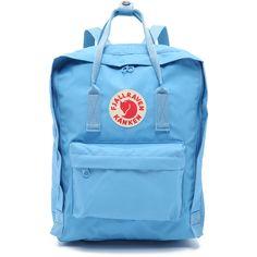 Fjallraven Kanken Backpack ($76) ❤ liked on Polyvore featuring bags, backpacks, air blue, blue backpack, lightweight rucksack, logo backpacks, canvas bag and fjallraven backpack