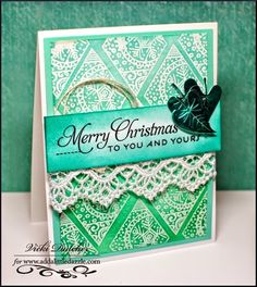 Vicki Dutcher: All I Do Is Stamp – Stampendous and Add a Little Dazzle Blog Hop - Day 2 - 9/16/14 (Stampendous stamp: Christmas Diamonds - Ombre Effect backtground)