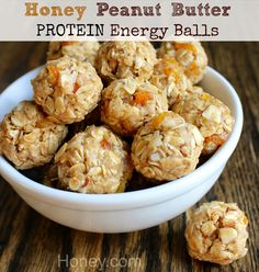 Honey Peanut Butter Protein Energy Balls: simple ingredients for homemade energy balls. I developed this recipe on behalf of the honey folks.