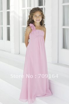 Aliexpress.com : Buy Gorgeous Fashion One Shoulder Ruched A Line Long Pink Junior Bridesmaid Dresses FB132 from Reliable junior bridesmaid dress suppliers on Fashion bridal $83.64