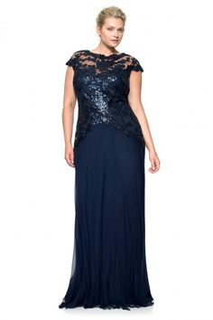 Paillette Embroidered Lace and Chiffon Skirt Gown - PLUS SIZE | Tadashi Shoji