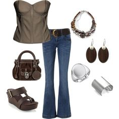 like the top, jeans, bag and silver ware