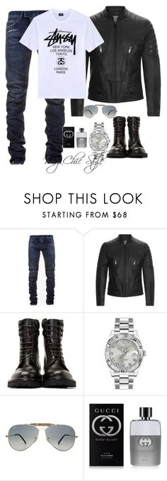 """""""It's Saturday Man"""" by mychicstyle1 ❤ liked on Polyvore featuring Balmain, Sandro, Yves Saint Laurent, Rolex, Ray-Ban, Gucci, Stussy, men's fashion, menswear and ootd"""