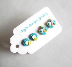 Earring Tiny Owls handmade polymer clay button post stud pierced earrings ( 4 ). $10.00, via Etsy.