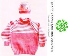 Toddler Raglan Sleeve Jumper and Hat knitting pattern