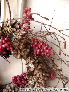 A natural wreath that would be lovely on a cupboard door or placed on a mantle.  Nordic Natural Winter Wreath - Christmas Wreath - Small Wreath - Gift - Natural Wreath, $45.00