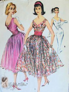 1950s  Dazzling Evening Party Dress Pattern Draped Cowl Back, Deep V Neckline, Wiggle Slim or Full Skirts Cummerbund Gorgeous Design McCalls...