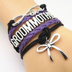 Infinity Love Black & Purple Wedding Party Bracelets - 50% Off Sale