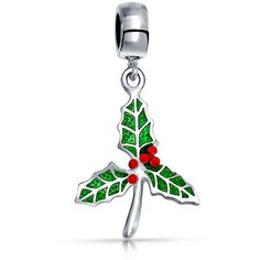 Bling Jewelry Christmas Gifts 925 Silver Christmas Mistletoe Enamel... ($16) ❤ liked on Polyvore featuring jewelry, pendants, green, charm pendant, silver bead charms, charm jewelry, beaded jewelry and leaf charms