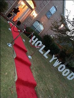 "Hollywood Party Entrance- flashing stobe lights in the evening a ""paparazzi"" taking photos and a ""reporter"" interviewing guests as they arrived Hollywood Sweet 16, Hollywood Red Carpet, Deco Cinema, Movie Night Party, Movie Nights, Movie Party Themes, Cool Party Themes, Movie Party Decorations, Hollywood Party Decorations"