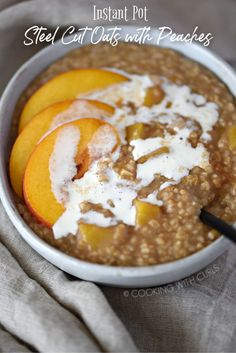 Start your day with a big bowl of Instant Pot Steel Cut Oats with Peaches and Cream, it is crazy easy to make. Oats Recipes, My Recipes, Pistachio Baklava, My Favorite Food, Favorite Recipes, Steel Cut Oats, Instant Recipes, What's For Breakfast, Big Bowl