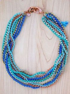 Chain necklace in shades of blue! Cool summer jewelry fun!    Shout The Rainbow