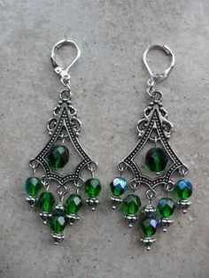SALE Emerald Green Chandelier Earrings by HeidiDiCesareDesigns, $10.00