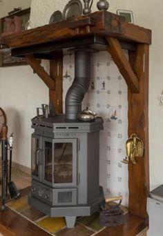 Shelf above stove Indoor Wood Stove, Wood Burner Fireplace, Pellet Stove, Light My Fire, Coastal Decor, Home Renovation, Hearth, Fireplaces, Wood Crafts