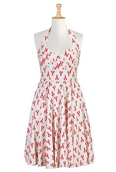 Lobster print cotton halter dress from eShakti