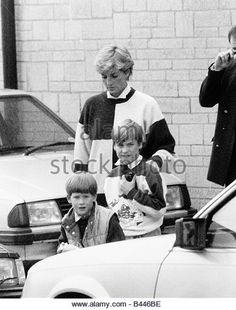 1990--Princess Diana with Prince William and Prince Harry October 1990 - Stock Image