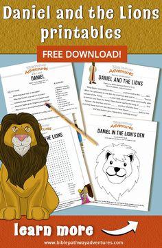 Daniel printables for kids Preschool Bible Lessons, Bible Lessons For Kids, Bible Activities, Free Preschool, Bible For Kids, Bible Crafts, Kid Crafts, Free Bible Coloring Pages, Adventure Bible