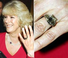 Camilla Parker Bowles' engagement ring is a Windsor family heirloom that belonged to the Queen Elizabeth, the Queen Mother. With a 1920s platinum setting, it is composed of a square-cut central diamond flanked by six diamond baguettes in the art deco style.