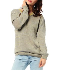 Look what I found on #zulily! Gray & Gold V-Neck Sweater #zulilyfinds
