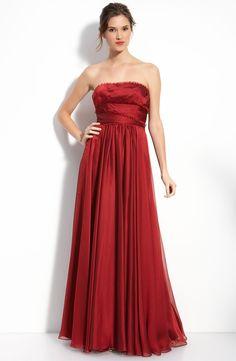 Strapless Chiffon Long Red Dress