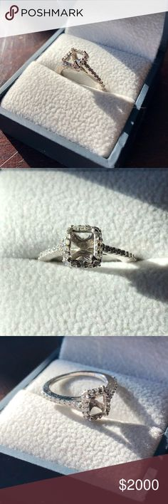 18K White Gold and Diamond Semi Mount Ring Sz 4.5 CENTER DIAMOND IS NOT INCLUDED! 18 K W gold mounting that held a .936 ct radiant cut diamond. Can hold up to a 1 ct radiant or emerald cut stone. Mounting set with 18 rnd diamonds around center & 18 rnd diamonds on band and 12 rnd diamonds at base of head. .50 ct t.w in rnd diamonds. SI clarity and H- I color. Good cut. Appraisal copy will be sent with item. Purchased from Fortunoff in 2011. All prongs retipped & stones tightened in 2013. All…