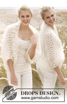 Knitted DROPS bolero in Vienna or Melody. Size: S - XXXL.
