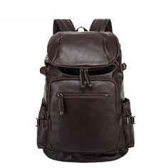 ed623d8a1149 Fashion Vintage Men Backpack Casual Travel Bag Oil Wax Leather Laptop Bag  College Backpack Leather Laptop