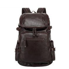 Fashion Vintage Men Backpack Casual Travel Bag Oil Wax Leather Laptop Bag  College Backpack Leather Laptop 822ea3747523d