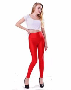dde1ac11ad9e7f new womens red shiny satin neon liquid wet look leggings free size free  shipping #wetland #slimfit