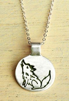 Sterling Silver Wolf Necklace - Silver Wolf - Howling Wolf Jewelry by boygirlparty