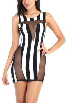 Stripe Mesh Dress