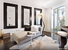Ikea Stockholm Sofa Design Ideas, Pictures, Remodel, and Decor - page 17 Black Accent Walls, White Walls, White Rug, Ikea Stockholm Sofa, White Cowhide Rug, Cowhide Rugs, Sofa Design, Interior Design, Modern Closet