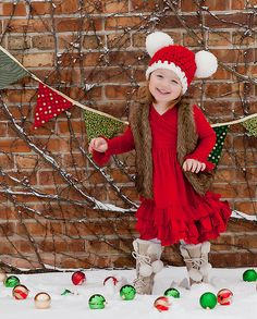 Christmas Toddler Santa Hat Toddler Girl by TSBPhotoProps