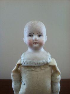 Antique Hertwig Bald Dollhouse German Bisque Doll | eBay