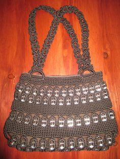 Items similar to Soda Tab Purse on Etsy Soda Tab Crafts, Can Tab Crafts, Crochet Handbags, Crochet Purses, Pop Top Crafts, Pop Tab Purse, Pop Can Tabs, Crochet Coffee Cozy, Soda Tabs